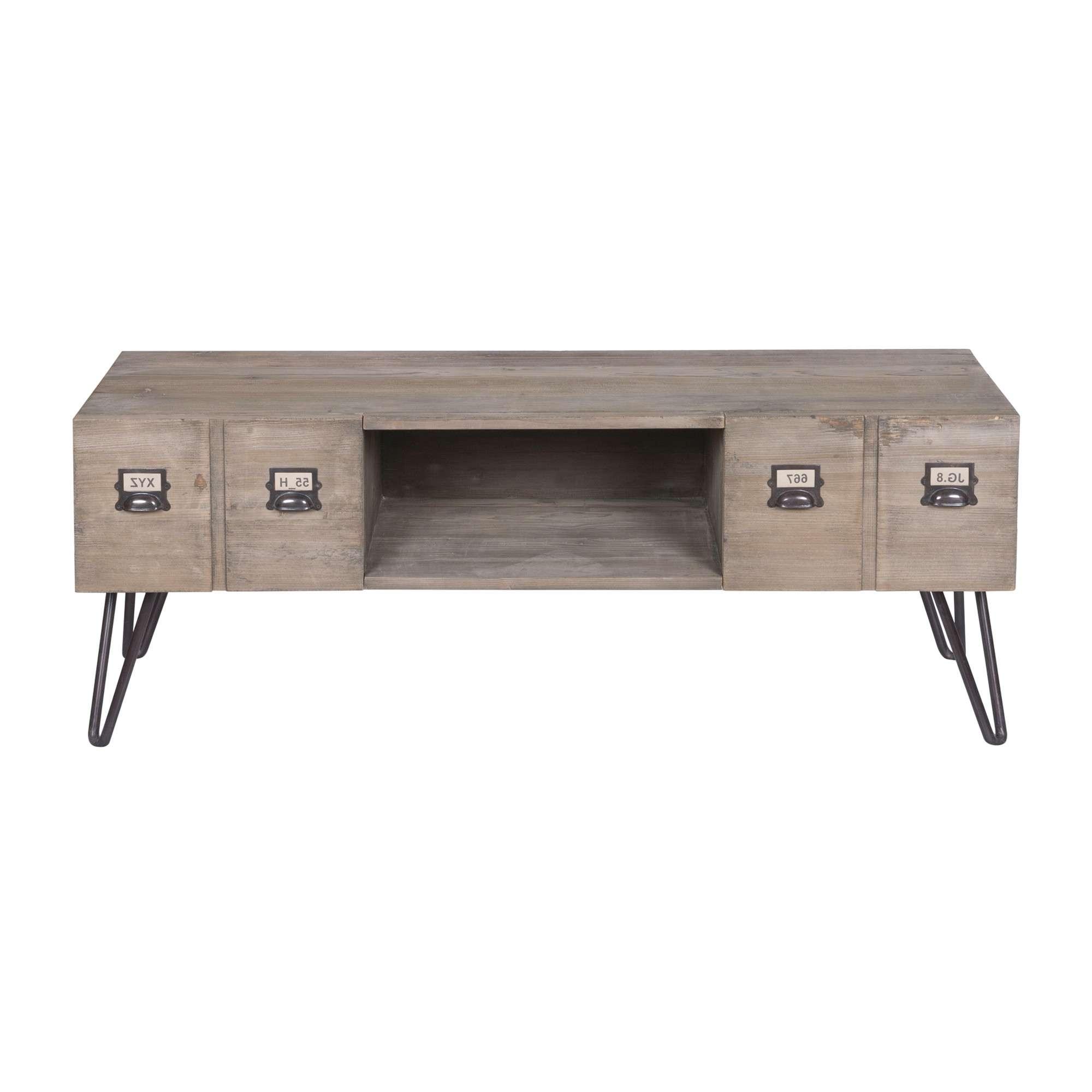2 Drawer Industrial Tv Cabinet | Temple & Webster With Industrial Tv Cabinets (View 1 of 20)
