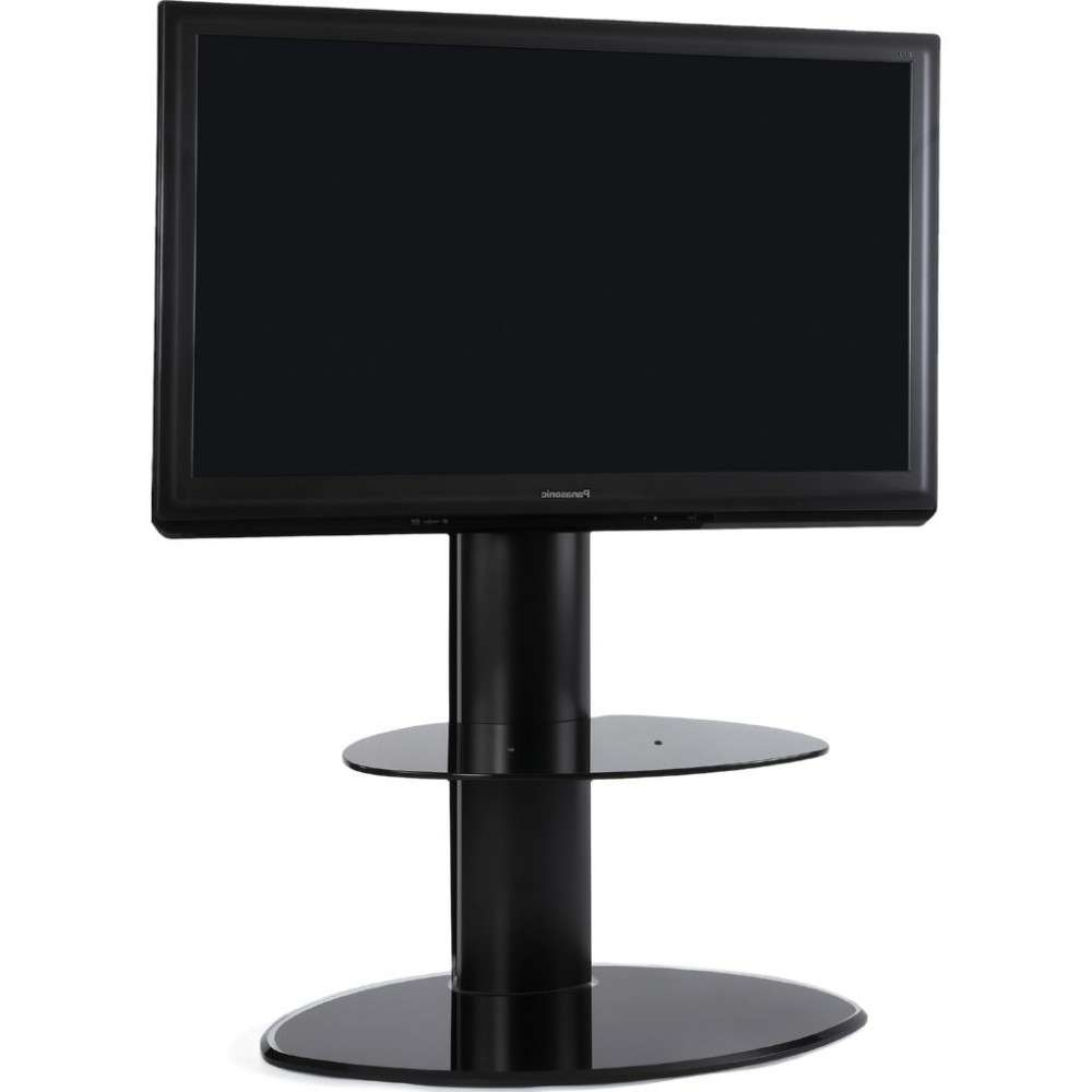 2 Shelf Slim Black Flatscreen Tv Stand W/ Mount Bracket Within Slimline Tv Stands (View 1 of 15)