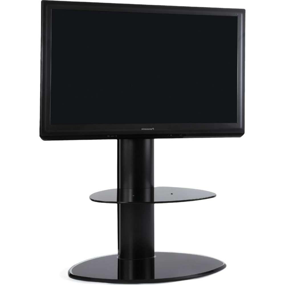 2 Shelf Slim Black Flatscreen Tv Stand W/ Mount Bracket Within Slimline Tv Stands (View 14 of 15)