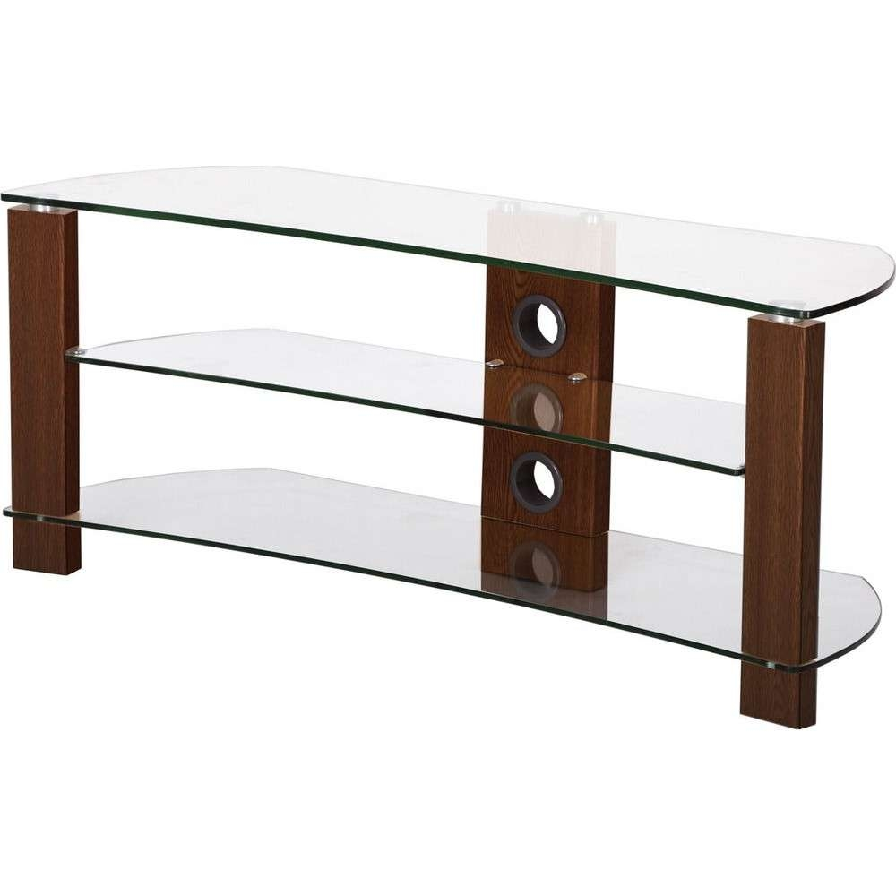 3 Shelves, Curved Clear Glass Tv Stand – Tv Stands – Brackets Inside Clear Glass Tv Stands (View 1 of 15)