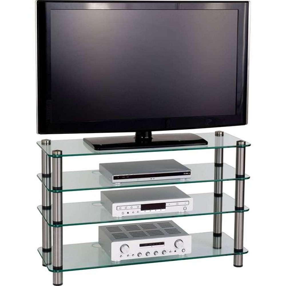 4 Tier Glass Shelves Display Flatscreen Tv Stand Unit Pertaining To Slimline Tv Cabinets (View 7 of 20)