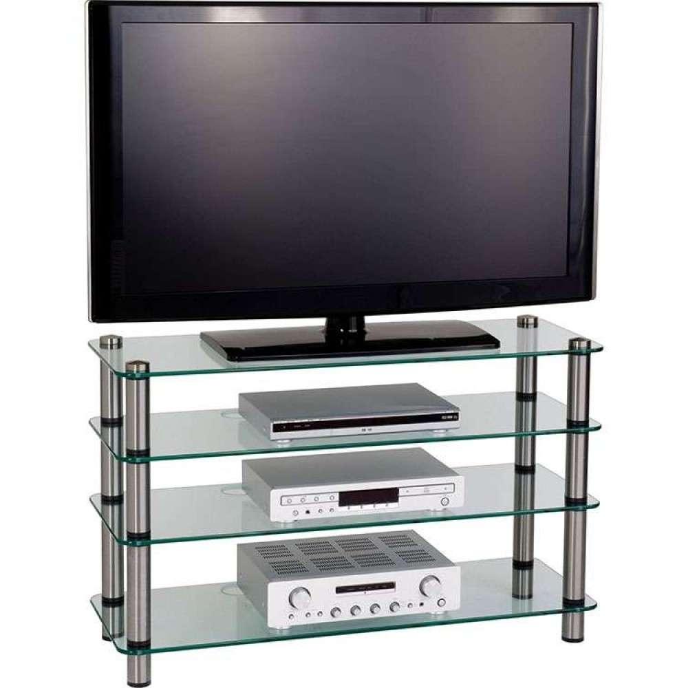 4 Tier Glass Shelves Display Flatscreen Tv Stand Unit Regarding Slim Line Tv Stands (Gallery 4 of 15)