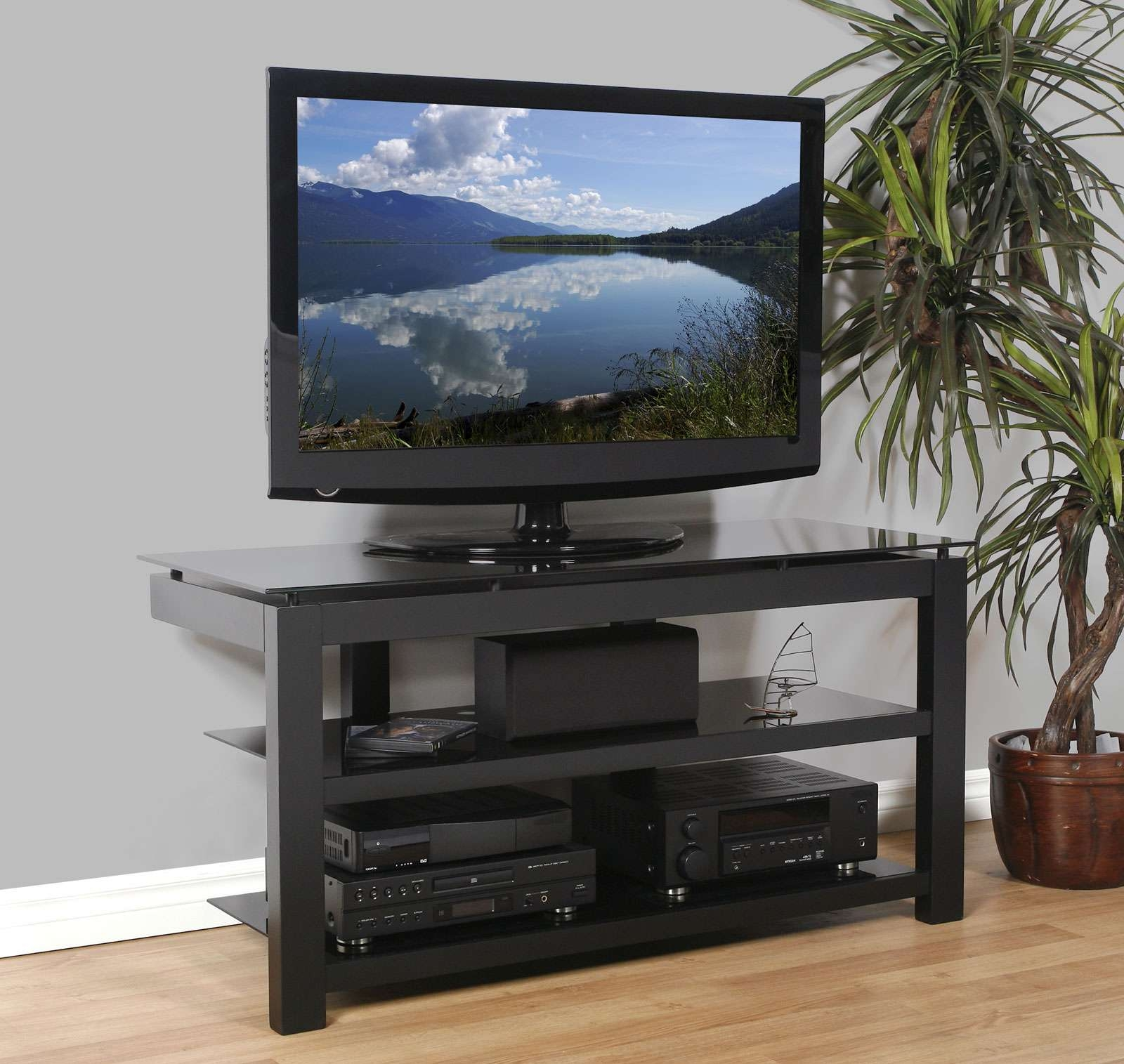 50 Inch Flat Screen Tv Stand – Natural Wood Veneers And Black Throughout Wood Tv Stands With Glass Top (Gallery 1 of 15)