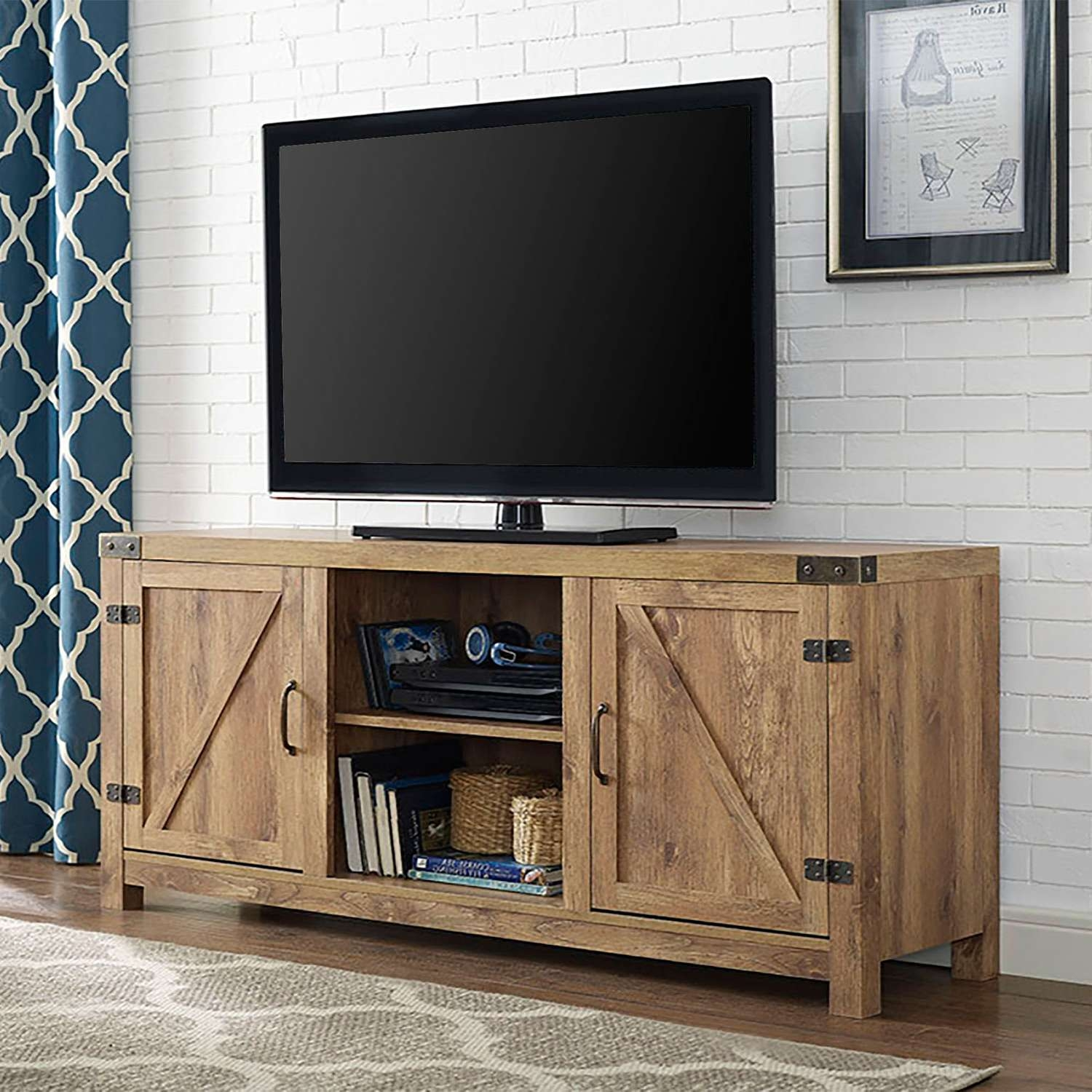 58 Inch Barn Door Tv Stand With Side Doors Barnwood Walker Edison With Rustic 60 Inch Tv Stands (View 1 of 15)