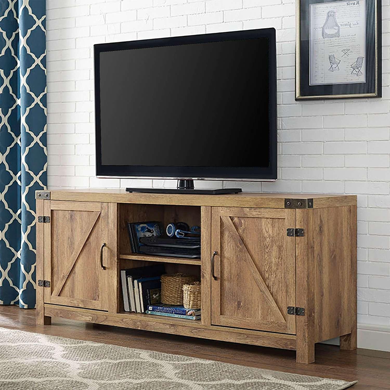 58 Inch Barn Door Tv Stand With Side Doors Barnwood Walker Edison With Rustic 60 Inch Tv Stands (Gallery 15 of 15)