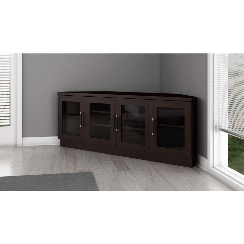 "60"" Contemporary Corner Tv Stand Media Console For Flat Screen And Within Contemporary Corner Tv Stands (View 1 of 15)"