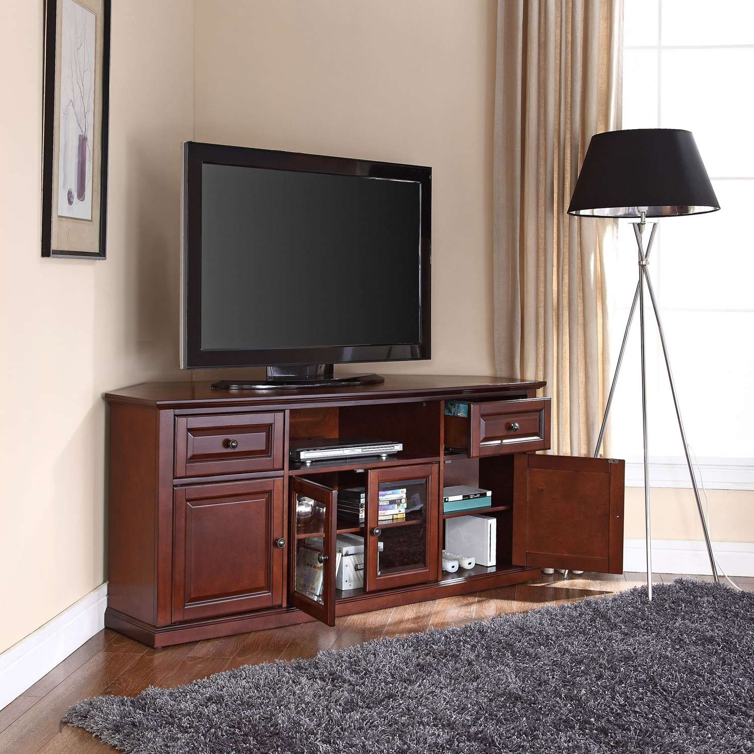 60 Inch Corner Tv Stand In Vintage Mahogany Crosley Furniture Intended For Mahogany Tv Stands Furniture (View 1 of 15)