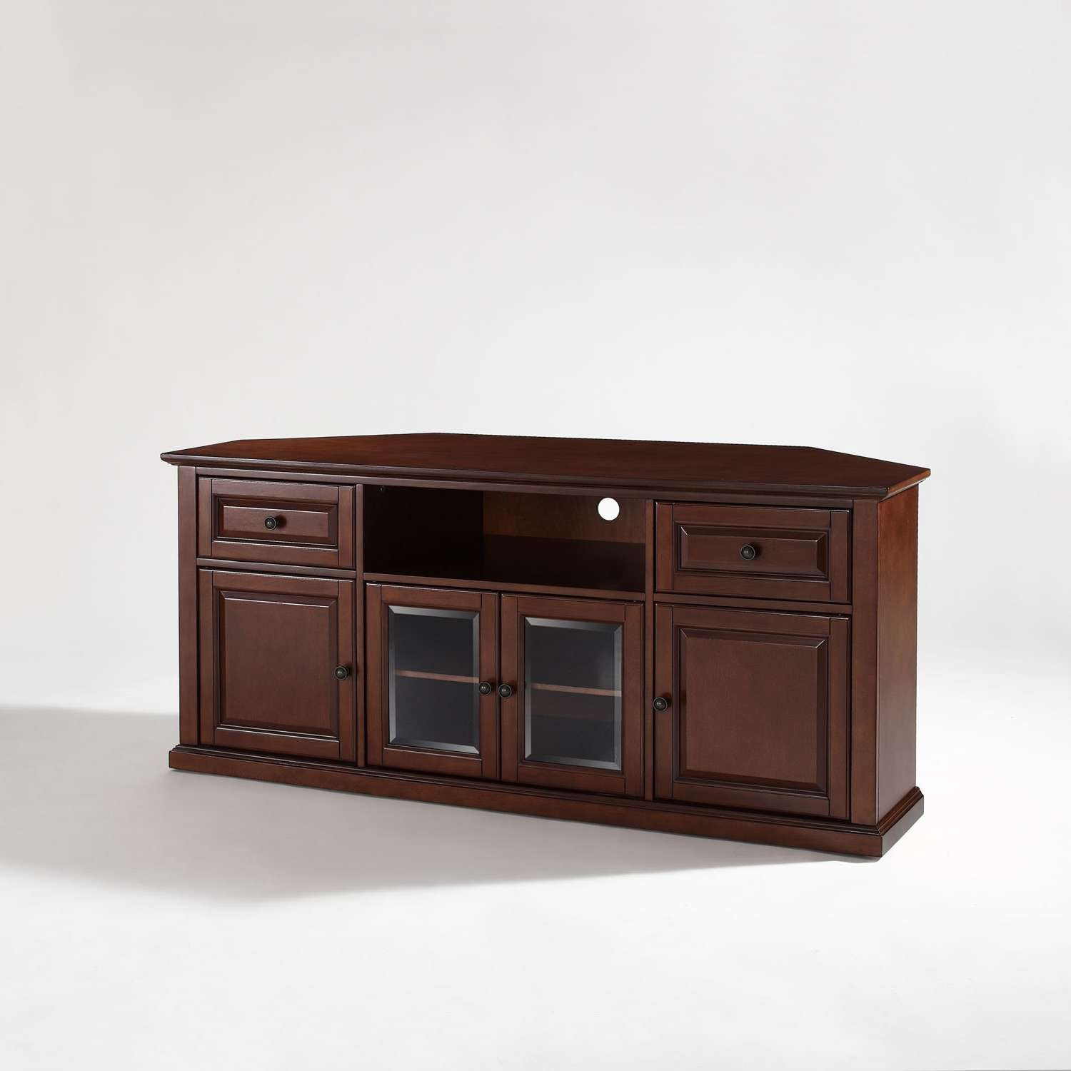 60 Inch Corner Tv Stand In Vintage Mahogany Crosley Furniture Pertaining To Corner Wooden Tv Cabinets (Gallery 11 of 20)