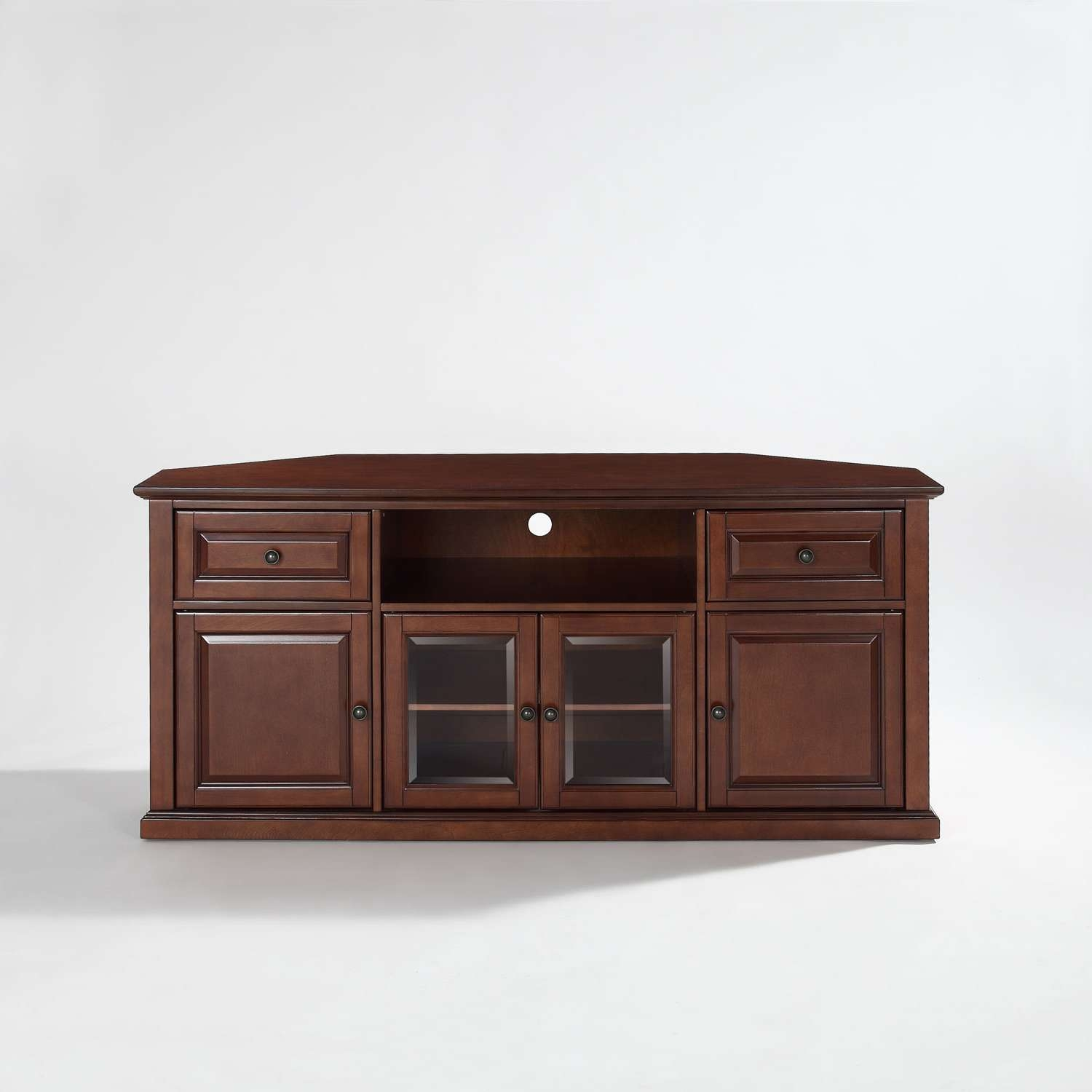 60 Inch Corner Tv Stand In Vintage Mahogany Crosley Furniture With Regard To Wood Corner Tv Cabinets (View 19 of 20)