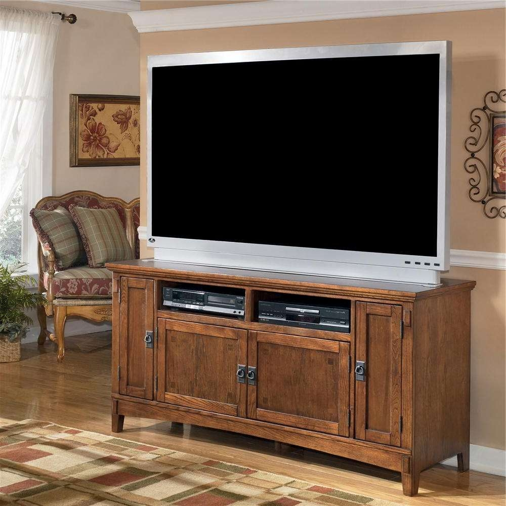60 Inch Oak Tv Stand With Mission Style Hardwareashley Intended For Country Style Tv Cabinets (Gallery 5 of 20)