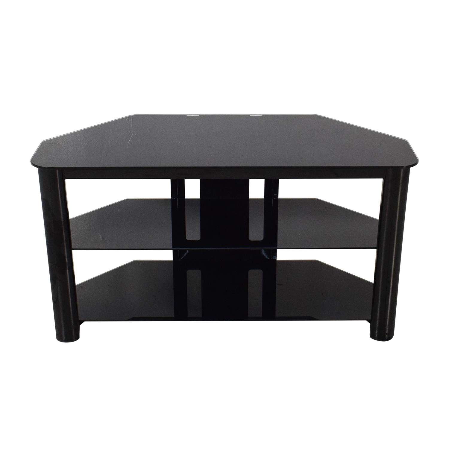 61% Off – Best Buy Best Buy Black Glass Tv Stand / Storage With Regard To Black Glass Tv Stands (View 8 of 15)