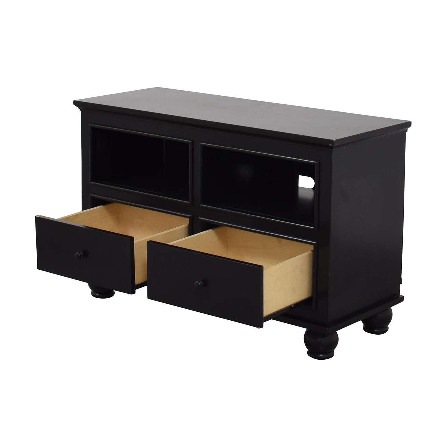 86% Off – Macy's Macy's Dark Wood Two Drawer Tv Stand / Storage Throughout Dark Wood Tv Cabinets (View 12 of 20)