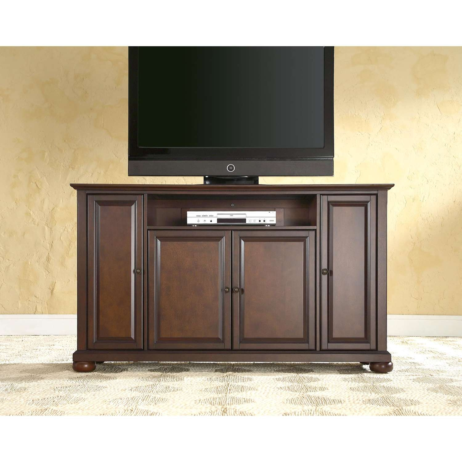 Alexandria 60 Inch Tv Stand In Vintage Mahogany Finish Crosley Throughout Mahogany Tv Stands (View 2 of 15)