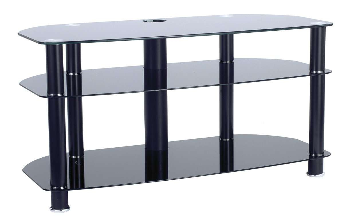 "Alphason Black Glass Tv Stand For Up To 42"" Tvs Pertaining To Black Glass Tv Stands (View 1 of 15)"