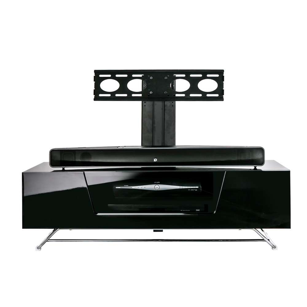 Alphason Chromium 2 1200 Gloss Black Tv Cabinet W/ Tv Bracket In Shiny Black Tv Stands (View 1 of 15)