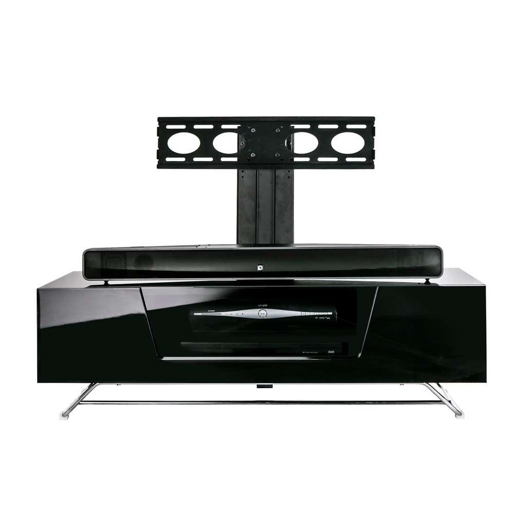 Alphason Chromium 2 1200 Gloss Black Tv Cabinet W/ Tv Bracket In Shiny Black Tv Stands (View 1 of 15)