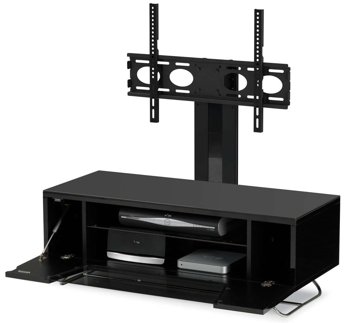 Alphason Chromium Black Cantilever Tv Stand Regarding Cantilever Tv Stands (View 2 of 15)