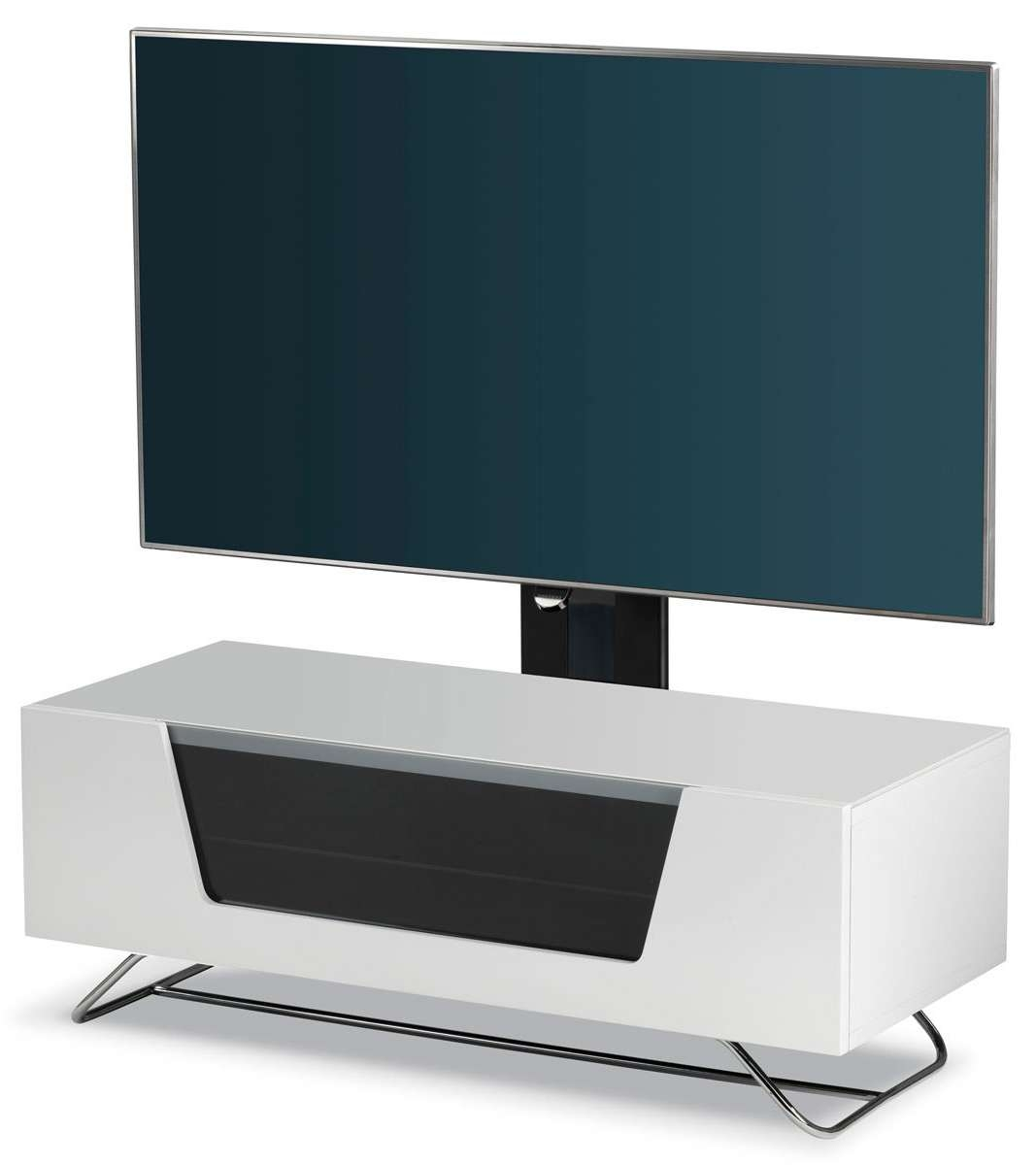Alphason Chromium High Gloss Cantilever Tv Stand Unit Remote Regarding White Cantilever Tv Stands (View 4 of 20)