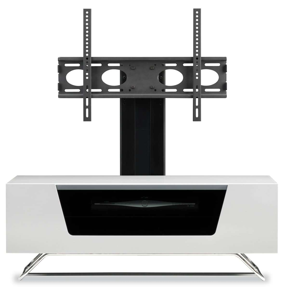 Alphason Chromium High Gloss Cantilever Tv Stand Unit Remote With Regard To Tv Stands Cantilever (View 4 of 15)