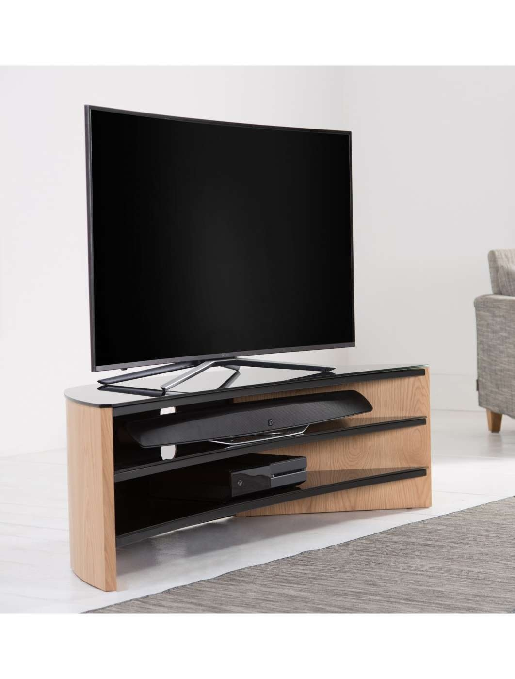 Alphason Finewoods Curve Tv Stand Fw1400C Lo | 121 Tv Mounts With Regard To Curve Tv Stands (View 1 of 15)