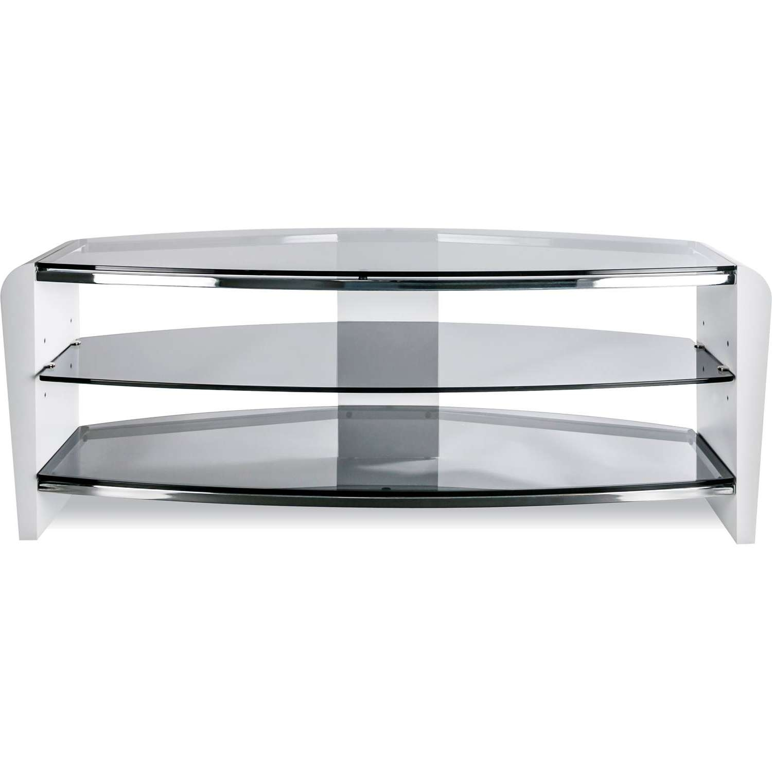 Alphason Francium 1100 White Wood & Smoked Glass Tv Stand Fits Up In Smoked Glass Tv Stands (View 1 of 15)