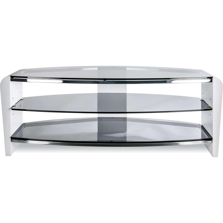 Alphason Francium 1100 White Wood & Smoked Glass Tv Stand Fits Up In Smoked Glass Tv Stands (View 8 of 15)