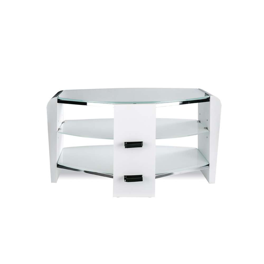 Alphason Francium 800 Arctic White & Glass Tv Stand Intended For White Glass Tv Stands (View 2 of 15)