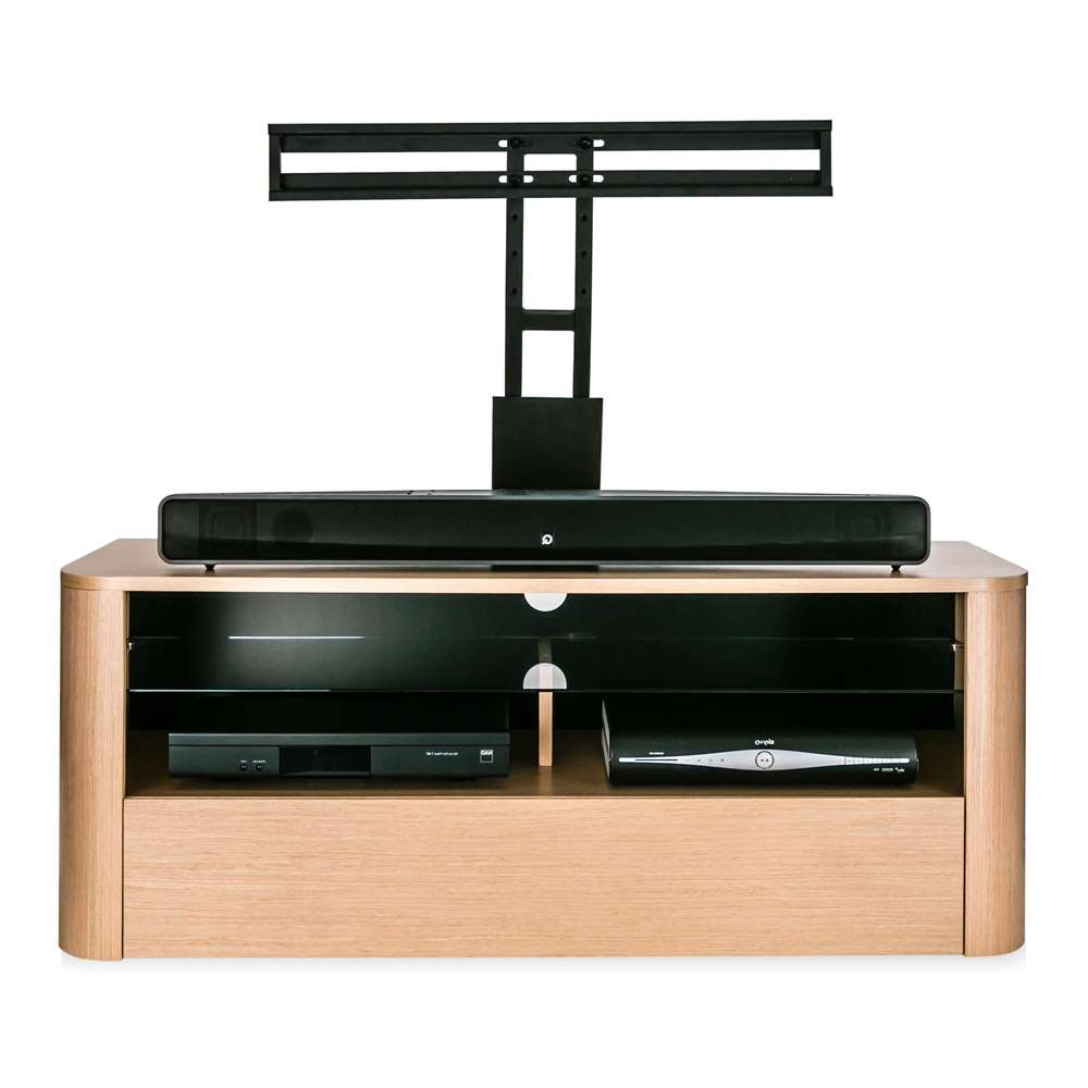 Alphason Hugo Adh1260 Light Oak Soundbar Ready Tv Cabinet W/ Tv Throughout Light Oak Tv Cabinets (View 12 of 20)