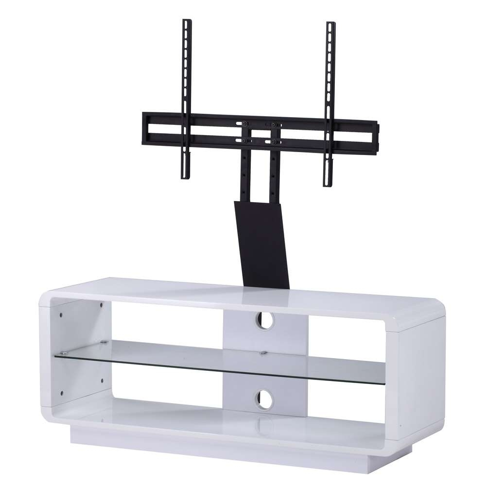 Alphason Luna Adlu1200 White Tv Stand W/ Tv Bracket – Alphason With White Cantilever Tv Stands (View 2 of 20)