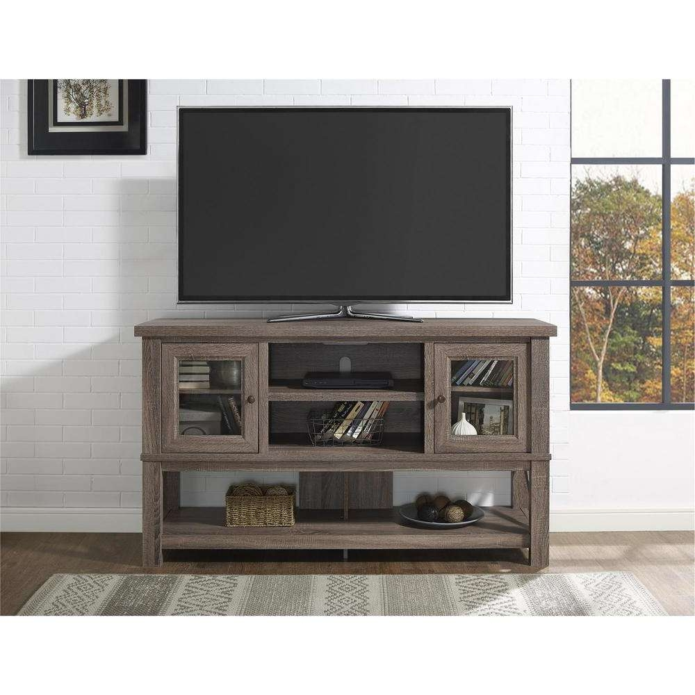 Altra Furniture Everette Sonoma Oak Entertainment Center Throughout Oak Tv Stands With Glass Doors (View 1 of 15)