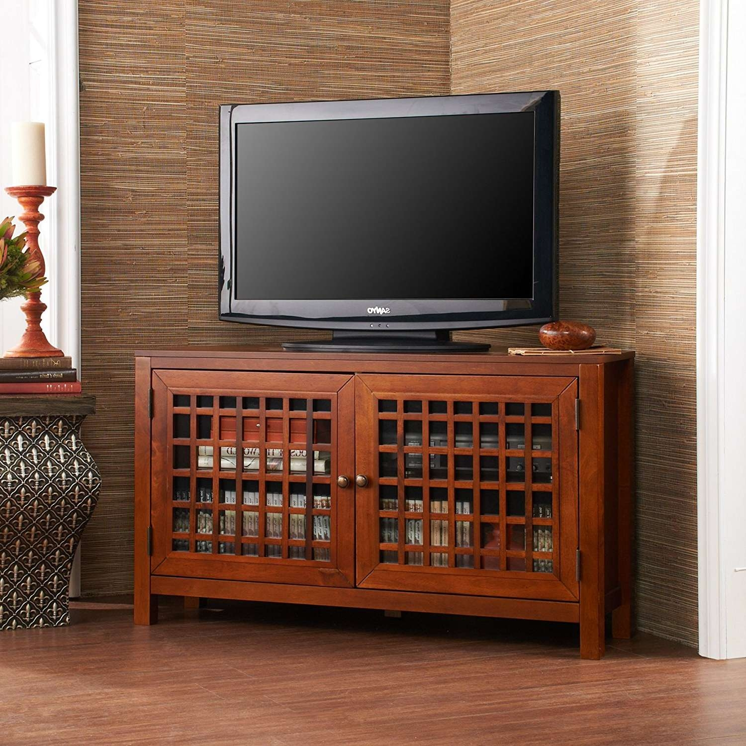 Amazoncom Narita Corner Media Stand Walnut Kitchen Dining Storage With Regard To Corner Tv Cabinets For Flat Screens With Doors (View 1 of 20)