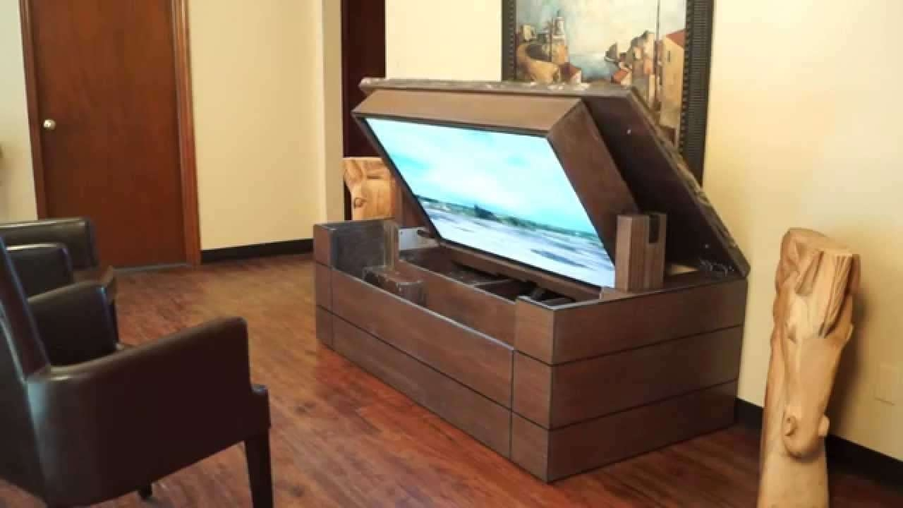 American Tv Lift Cabinet – Unique Handcrafted Low Profile Granite Throughout Unique Tv Stands (View 1 of 20)