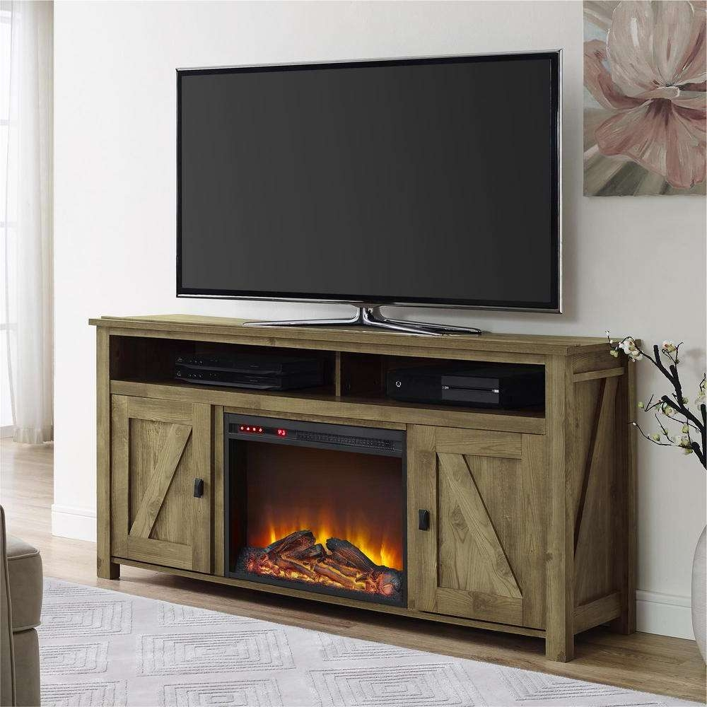 Ameriwood Farmington Heritage Pine Fire Place Entertainment Center In Light Colored Tv Stands (View 1 of 15)