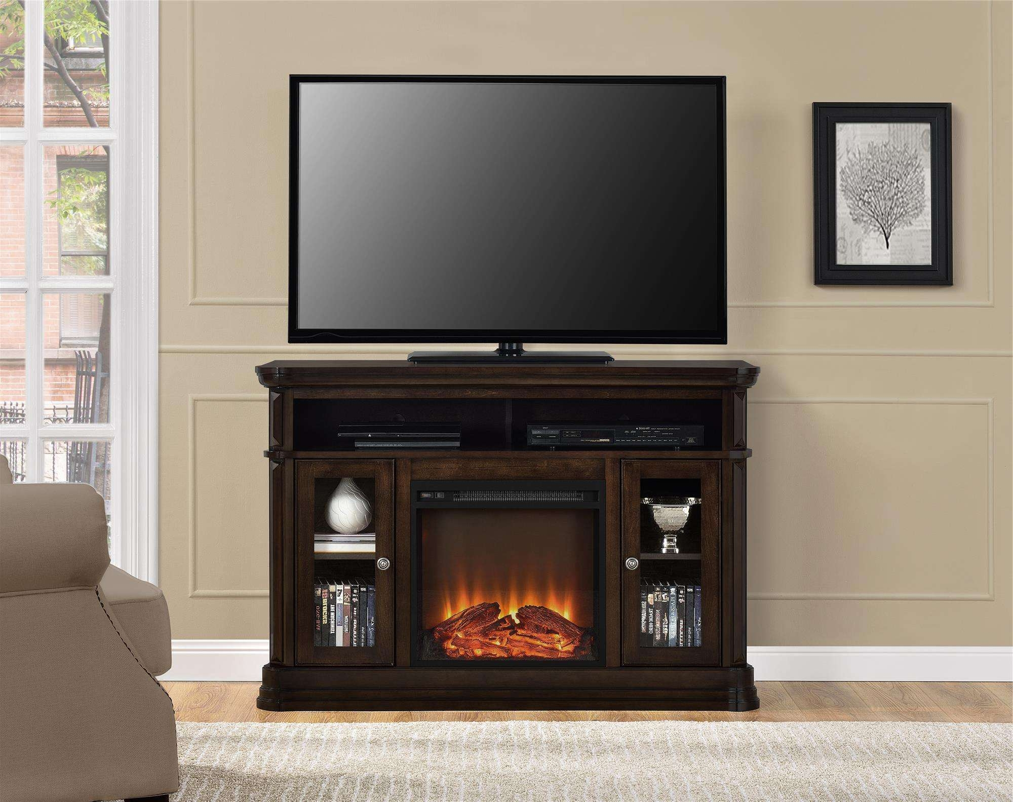 Ameriwood Furniture Brooklyn Electric Fireplace Tv Console For Throughout 50 Inch Stands