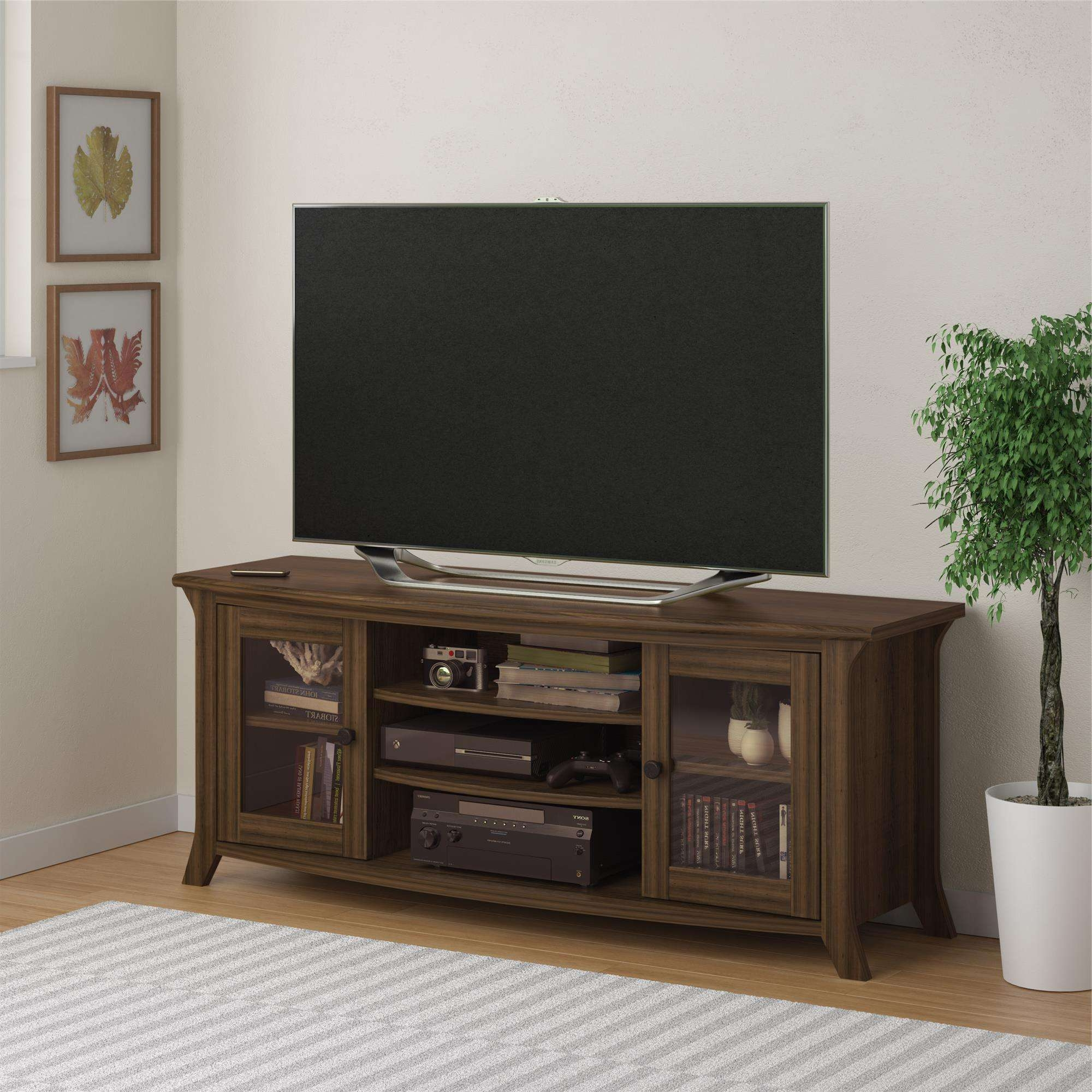 Ameriwood Furniture | Oakridge Tv Stand With Glass Doors For Tvs Throughout Brown Tv Stands (View 13 of 20)