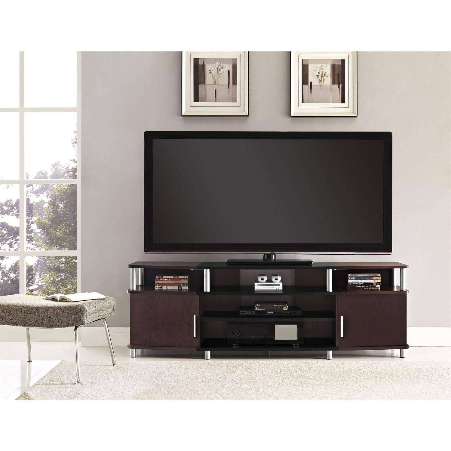 "Ameriwood Home Carson Tv Stand For Tvs Up To 70"", Multiple Colors Within Dark Walnut Tv Stands (View 3 of 15)"