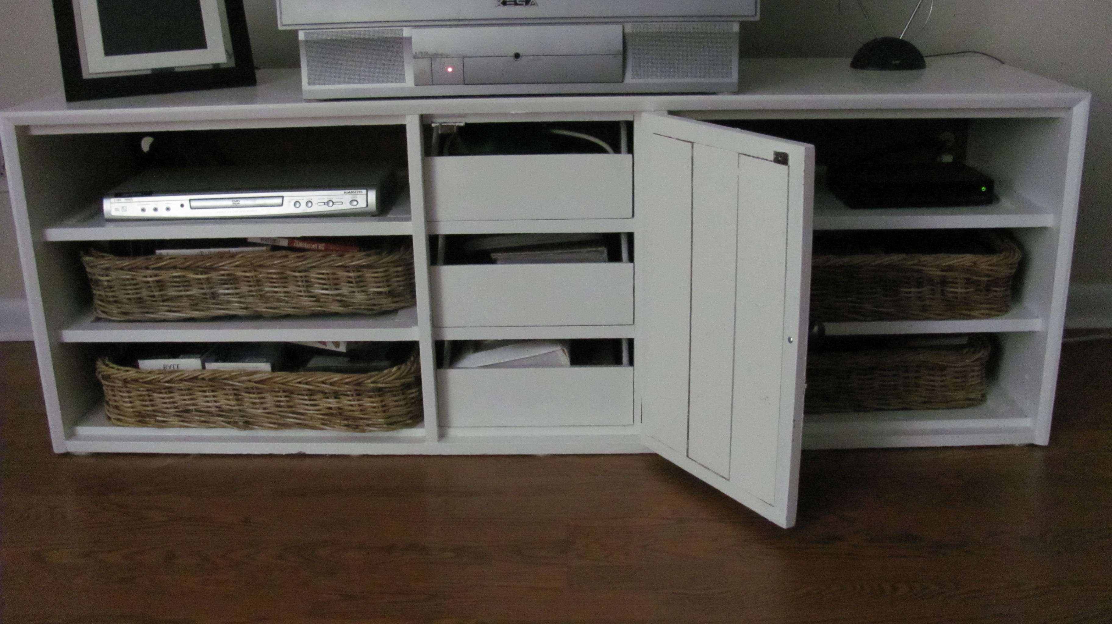An Oak Furniture Tv Stand With Dresser Drawers | Johnfante Dressers Inside Tv Stands With Baskets (View 6 of 15)