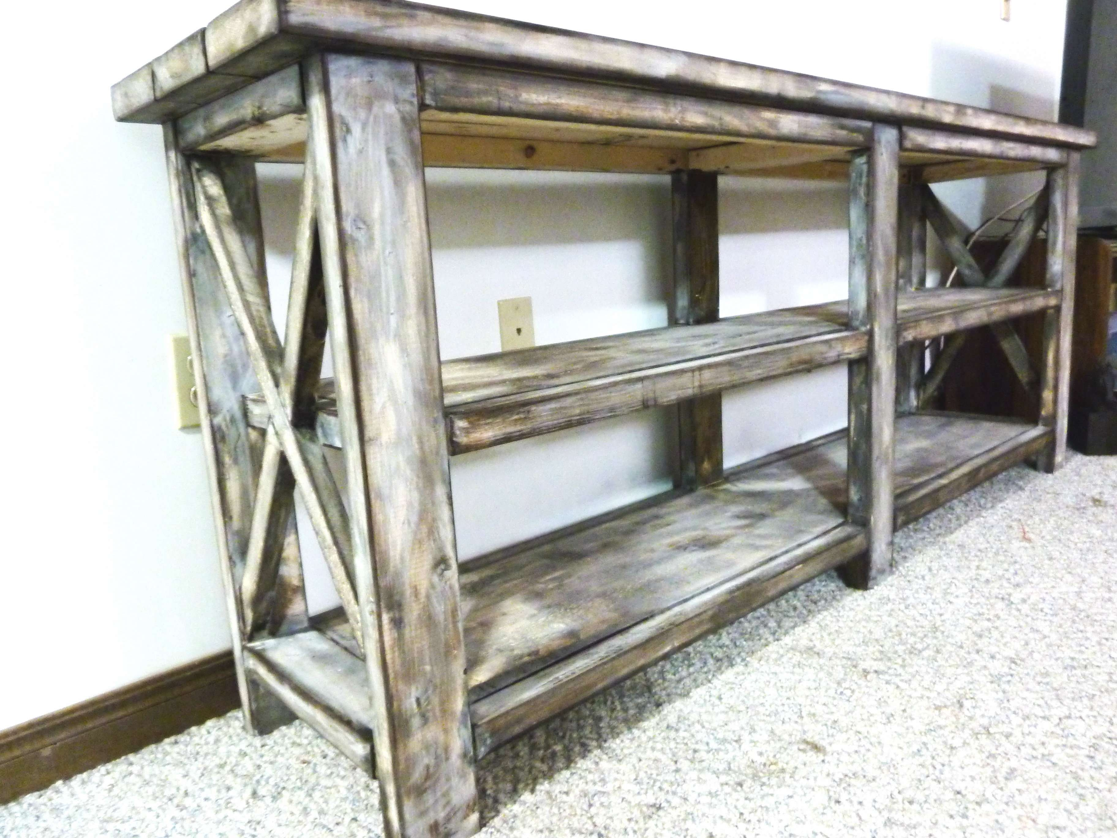 Ana White | Rustic X Console – Diy Projects With Rustic White Tv Stands (View 2 of 15)