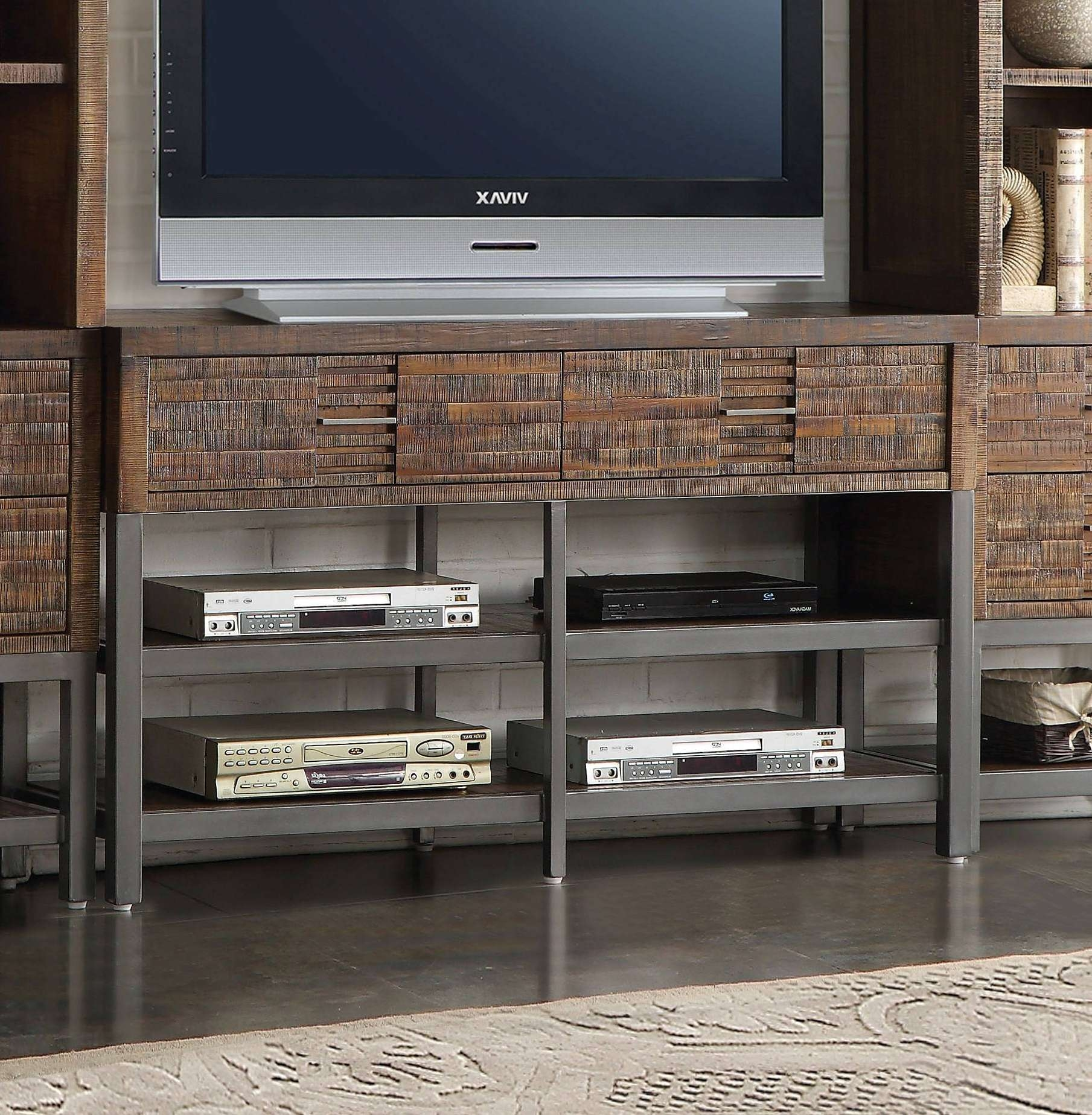 Andria Reclaimed Oak Acacia Wood 2 Drawers 4 Shelves Tv Stand Intended For Classy Tv Stands (View 2 of 20)