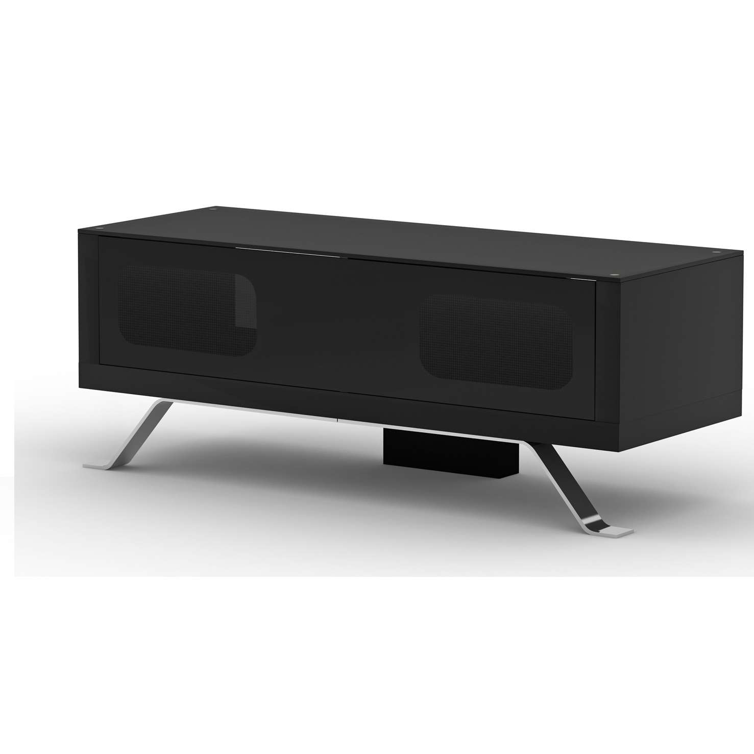 Arcadia Black Tv Cabinet With Glass Top 20518 Furniture In Within Modern Black Tv Stands (View 3 of 20)