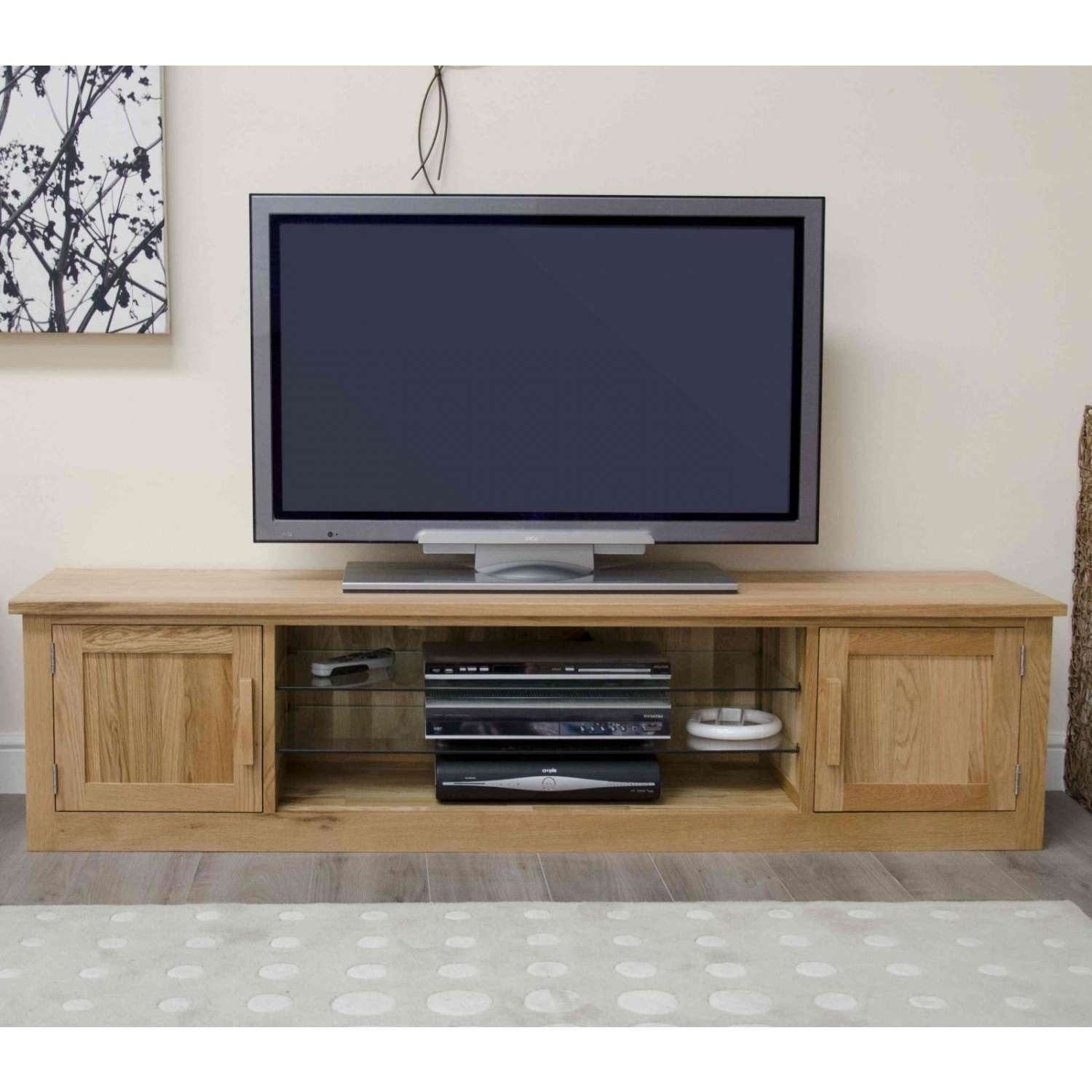 Arden Solid Oak Living Room Furniture Large Widescreen Tv Cabinet Pertaining To Low Oak Tv Stands (View 2 of 20)