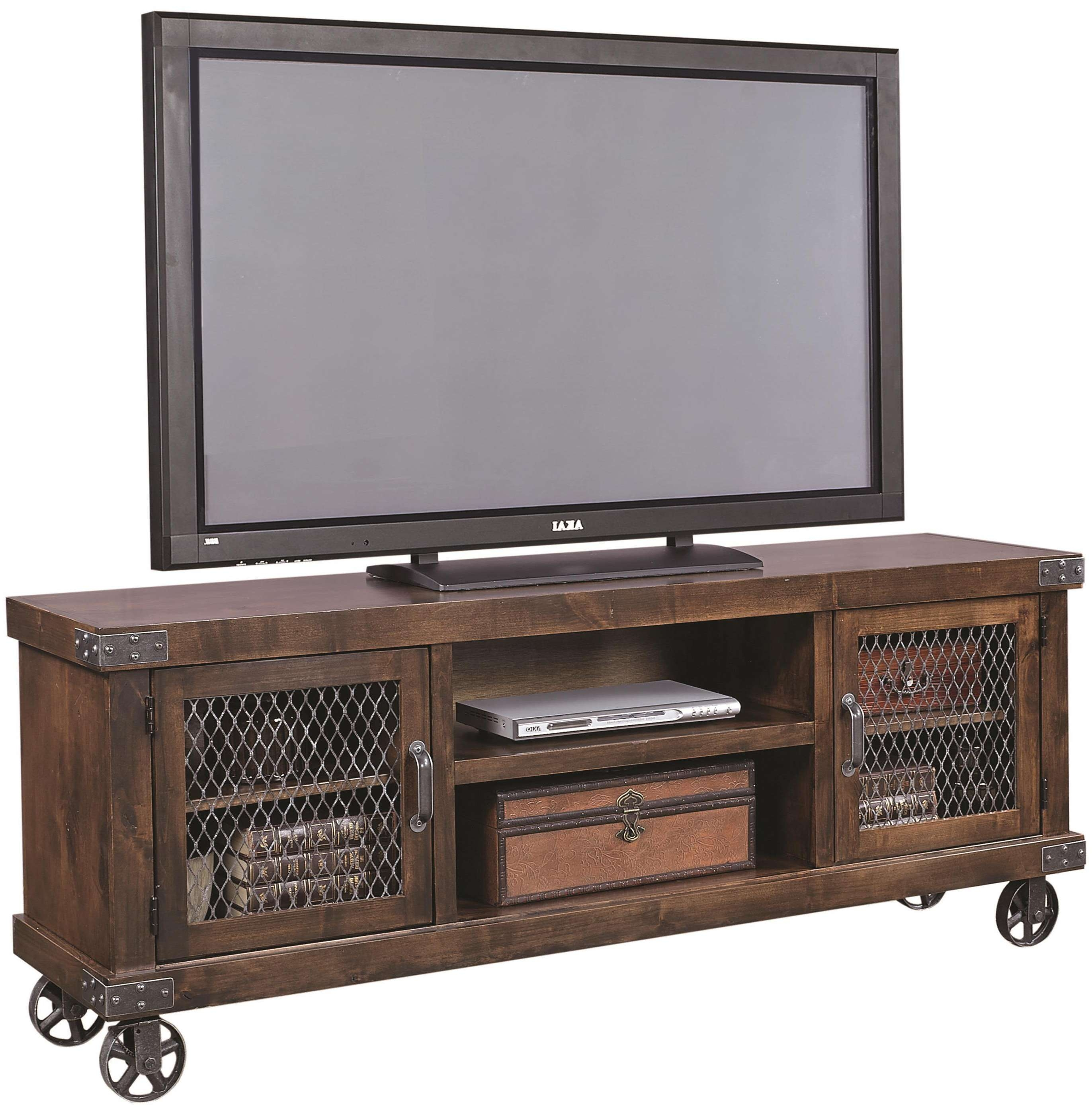 """Aspenhome Industrial Dn1074 Tob 74"""" Console With 2 Doors And With Industrial Tv Stands (View 5 of 15)"""