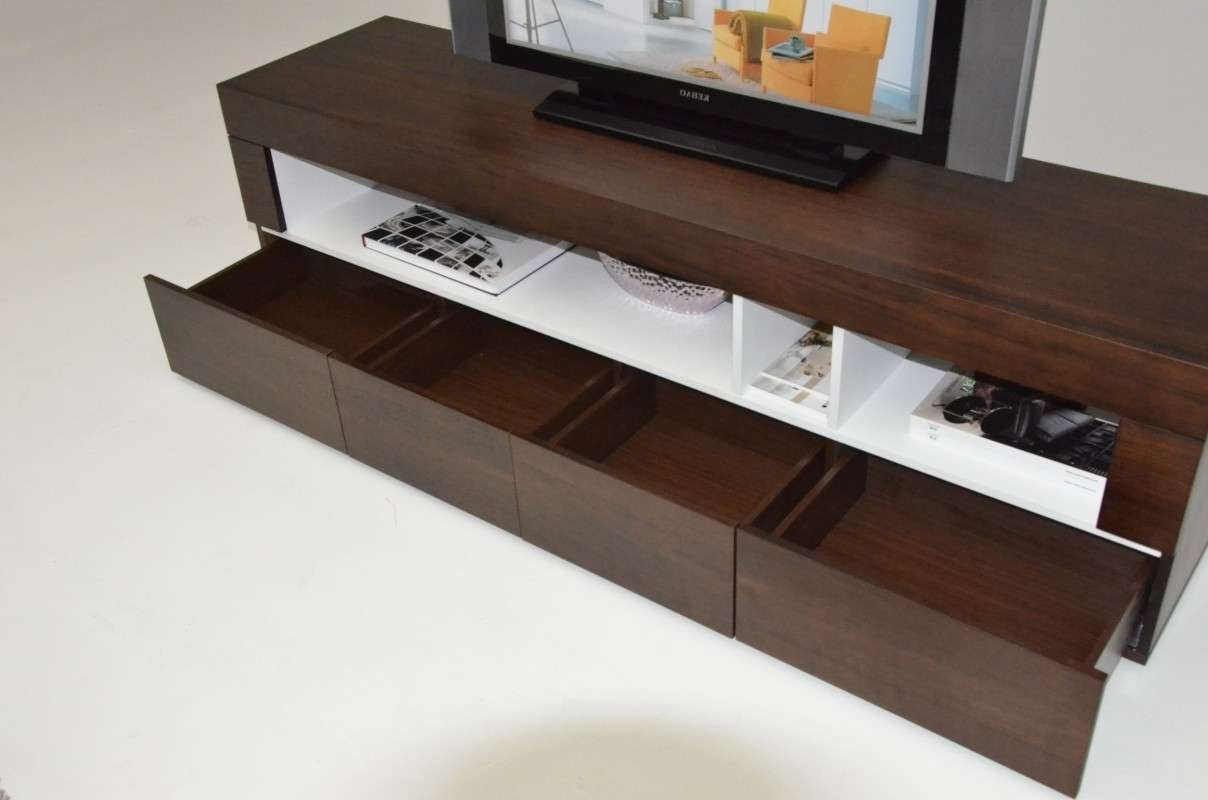 Aura Modern Tobacco Tv Stand Regarding Low Profile Contemporary Tv Stands (View 2 of 20)