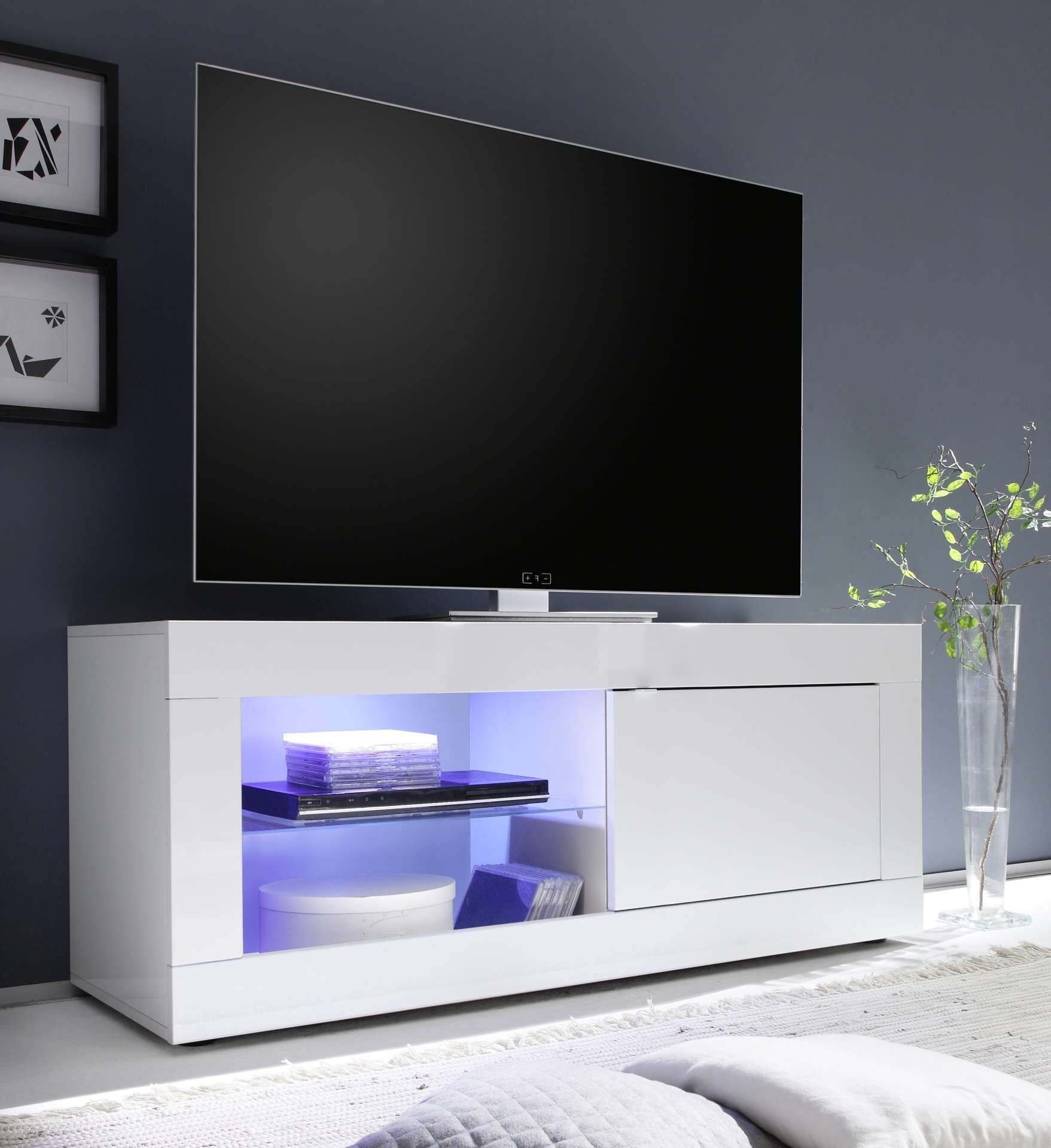 Avanti Ii Gloss Tv Stand With Rgb Lights – Tv Stands – Sena Home For Modern White Gloss Tv Stands (View 10 of 15)