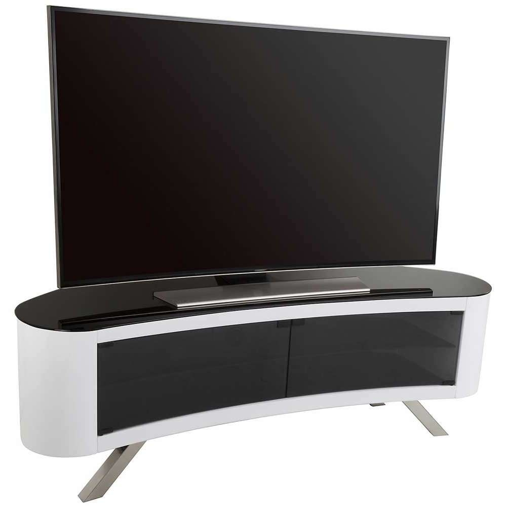 Avf Bay Curved Tv Stand In White Intended For Curve Tv Stands (View 2 of 15)