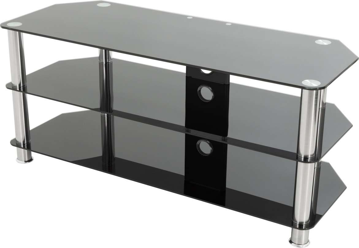 "Avf Universal Black Glass Tv Stand 1140Mm For Tvs 37"" To 55"" Led With Regard To Black Glass Tv Stands (View 3 of 15)"