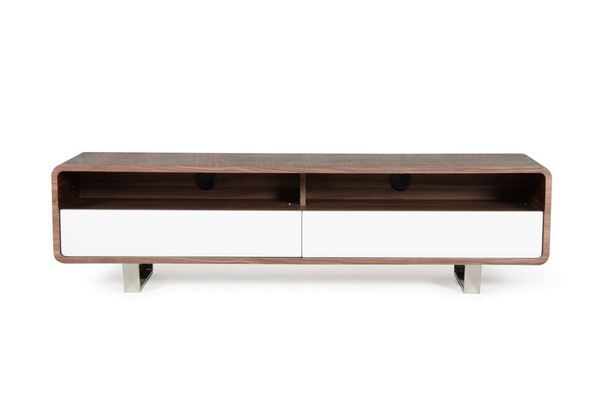 Avis Modern Walnut & White Tv Stand For Modern Walnut Tv Stands (Gallery 15 of 15)