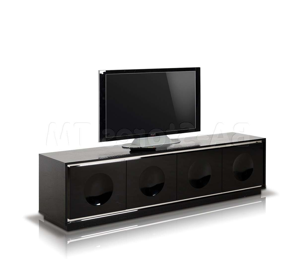A&x Grand – Modern Black Crocodile Lacquer Tv Stand | Tv / Plasma Within Modern Black Tv Stands (View 2 of 20)