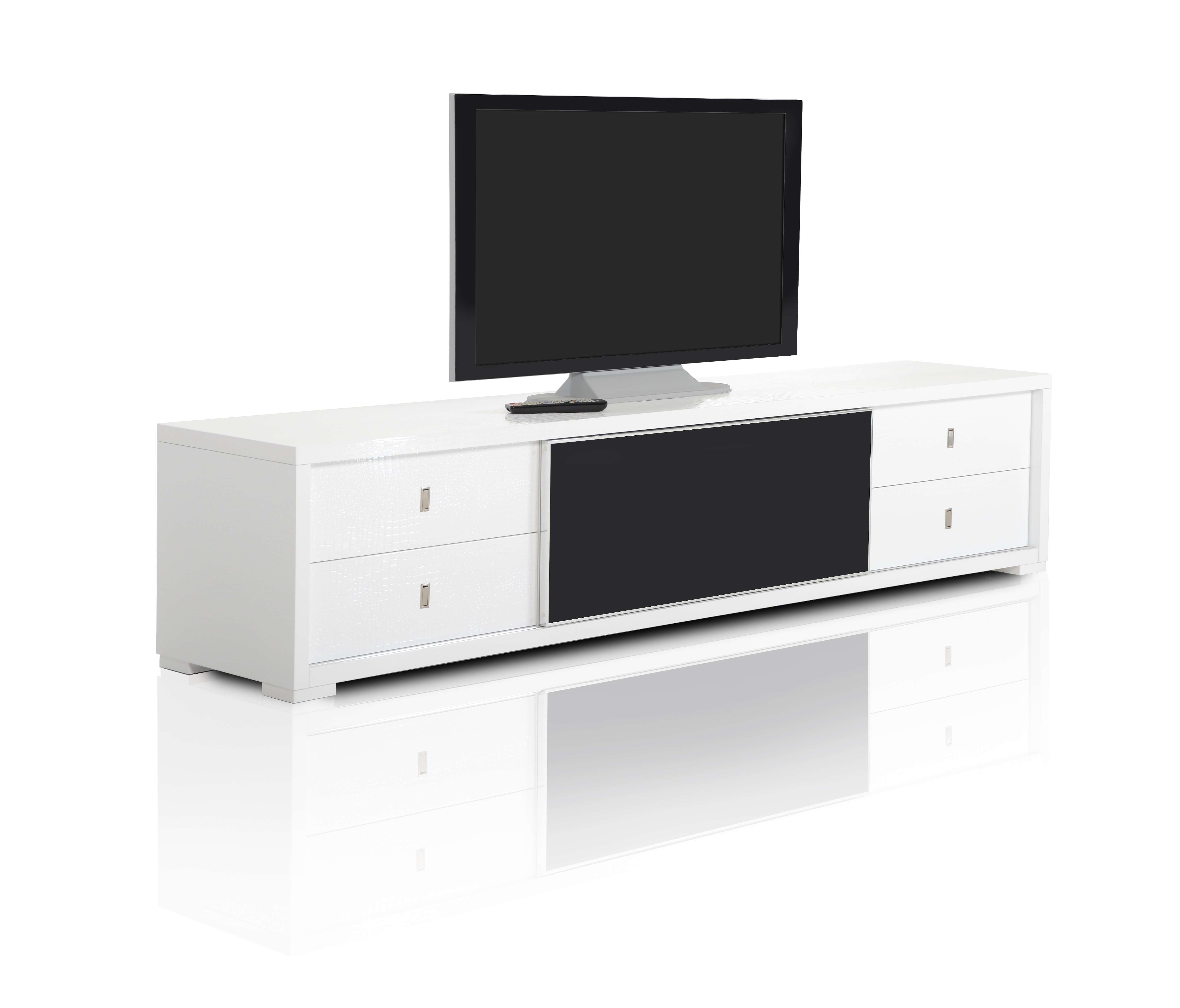 A&x Leopold – Modern White Crocodile Lacquer Tv Stand Intended For Modern White Lacquer Tv Stands (View 1 of 15)