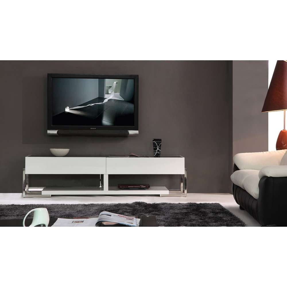 B Modern Agent Tv Stand | White High Gloss / Black Glass Top, B Pertaining To Modern Glass Tv Stands (View 3 of 15)